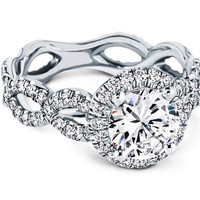 Engagement Ring - Halo Infinity Pave Engagement ring in 14K White Gold - ES1081BRWG
