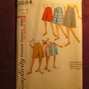 Uncut 1960's Simplicity Sewing Pattern, 5254! Waist 24 Hip 33 Small/Women's/Misses/Culottes/Double Pleated Bottoms/Shorts/Skwort
