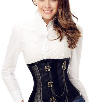 Women Steampunk Punk Rock Full Steel Boned Underbust Corset Waist Training Cincher Top Trainer Body Shaper Shapewear = 1929916420