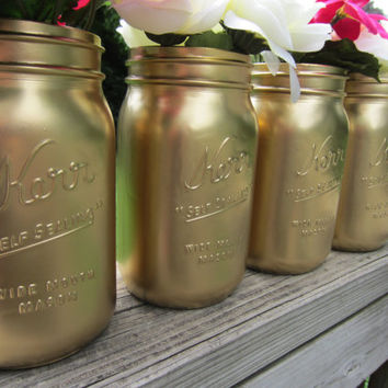 Gold, Silver, White, Black Mason Jar, Wedding Decor, Baby Shower Decor, Home Decor, Flower Vase, Quart Size
