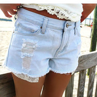 Boardwalk Blues Light Wash Distress Frayed Denim Shorts