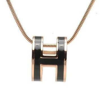 DCCKNQ2 Hermes Woman Fashion Logo Plated Necklace For Best Gift-3
