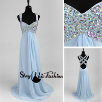 Crystal Beaded Blue Long Multi Straps Back Chiffon Prom Dress