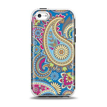 The Subtle Blue & Yellow Paisley Pattern Apple iPhone 5c Otterbox Symmetry Case Skin Set