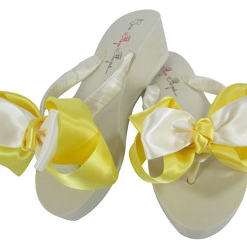 Wedding Flip Flops in Lemon Yellow & White,  Classic Bridal Bow Flip Flops- Bridesmaid Sandals, Ivory Wedges or Flat Heel, Platform