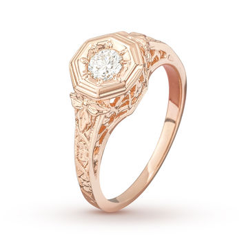 Antique Baroque Rose Gold Engagement Ring