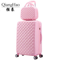 2 pcs / set cosmetics bag 14 inch 20 / 24 inch woman girl students trolley travel luggage suitcase box rotary unit can rolling