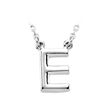 14K White Gold, Kendall Collection, Block Initial E Necklace, 16 Inch