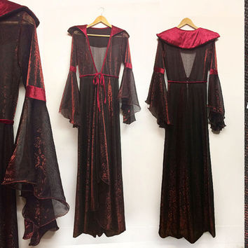 Vintage 1970's 1980's Sexy GOTHIC Sheer Red Rose Stevie Nicks Witch Sorceress Vampire Devil Gypsy Bell Sleeve Duster Costume || Size S to M