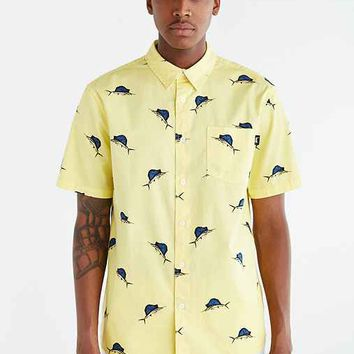 Stussy Big Catch Short-Sleeve Button-Down Shirt- Yellow