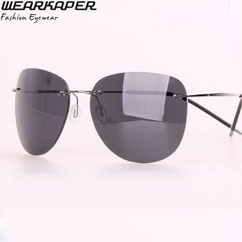 WEARKAPER Brand Polarized Men'Sunglasses Titanium Rimless Pilot Glasses Aeronautica Military Men Gafas De Sol Mujer