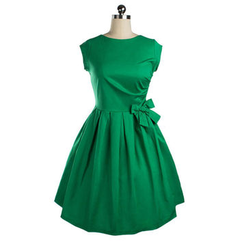 Woman Solid Color Bowknot Bubble Skirt Slim Dress   green   S