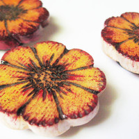 Flower Magnets Red Yellow Orange Upcycled Wood Painted Pyrography Set of 3