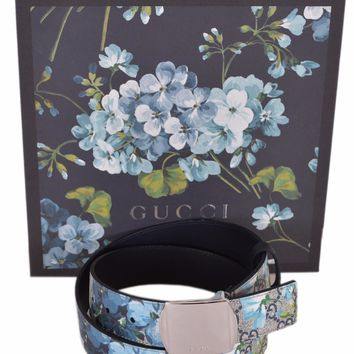 New Gucci Men's 424674 GG Supreme Canvas Blue Blooms Logo Buckle Belt