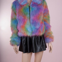 Rainbow Shaggy Faux Fur Jacket