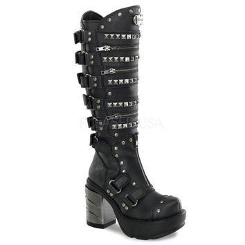 Pleaser Female 3 1/2 Inch Chromed ABS Heel, 1 1/2 Inch Moulded Pu Platform Knee Boot S