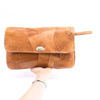 Leather Clutch Handmade Large Envelope Brown Patchwork Purse