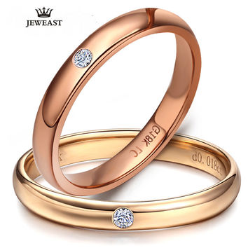 18k Pure Gold Lover Rings Natural Smooth Elegant Engaged Wedding Rose Women Men Couple Classic Fine Gift Good Customize