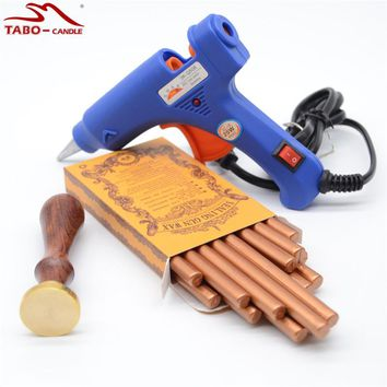Classic Red Gold Sealing Wax Stick 16 Pcs/box with 25mm Customised Wooden Stamp and 20W Hot Glue Gun for DIY Envelope Decoration