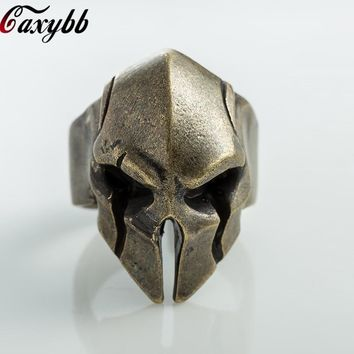 316L Stainless steel Men's Gothic Biker Punk Vintage Ring Spartan Mask Helmet Nordic Pagan Viking Rings
