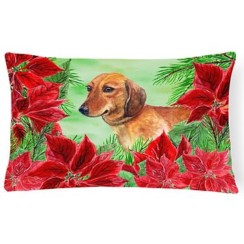 Dachshund Poinsettas Canvas Fabric Decorative Pillow CK1300PW1216