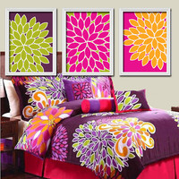 Bright Bold Colorful Flowers Floral Green Purple Orange Pink Artwork Set of 3 Trio Prints Bedroom Wall Decor Art Picture Bedding Match