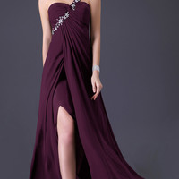 Solid Oblique One -Shoulder Beaded Ruched  Side Slit Chiffon Maxi Dress