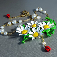 Upcycled Pearl Ladybug Flower Necklace Earring Set, Repurposed Vintage Jewelry, Daisies