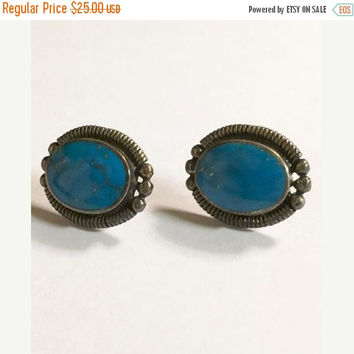 Vintage Sterling Silver with Blue Turquoise Pierced Earrings