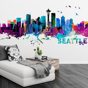 Seattle washington skyline watercolor art decal sticker gift for housewares