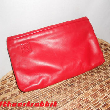 Anne Klein for Calderon Vintage 80s Red Leather Clutch Very Nice Condition