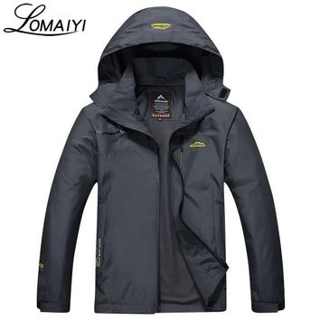 LOMAIYI Embroidery Windproof Waterproof Men Jacket Coat 2017 Autumn Winter Warm Rain Windbreaker Men's Hooded Jackets,AM031