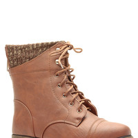Tan Faux Leather Lace Up Combat Boots