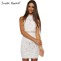 Simplee Apparel Black evening party lace bodycon dress Women spring sleeveless mini girl dress Sexy short vestidos de fiesta