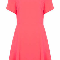 Fit and Flare Crepe Dress - Flur Pink