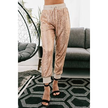 Got Your Attention Sequin Joggers (Rose Gold)