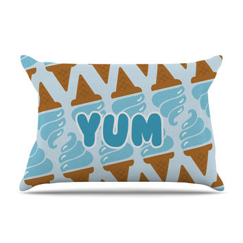 "KESS Original ""Yum!"" Ice Cream Blue Pillow Case"
