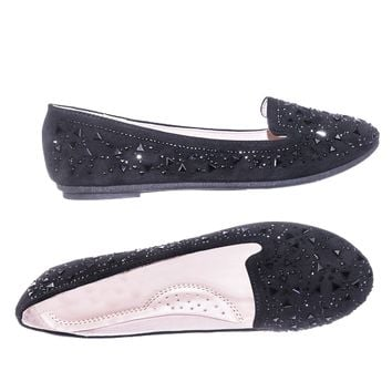 Supple10 Women Velvet Rhinestone Crystal Embellished Stud Slip On Flat Loafer