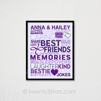 Best Friends Typography Personalized Wall Art - Choose Any Colors - twenty3stars