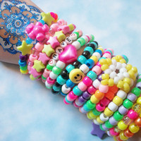 15 Cute, Colorful Kandi Rave Bracelets Grab Bag / 15 Kawaii Neon Rainbow Kandi Rave Bracelets