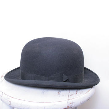 Antique The Kennedy Company Black Bowler Hat Size 7 1/4
