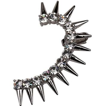 Edgy Silver & Gold Crystal Spike Rockers Ear Cuff Earring
