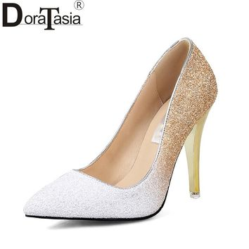 DoraTasia  2018 Large Sizes 34-43 Pointed Toe Party Woman Shoes Sexy Thin High Heels Slip On Bling Wedding Pumps Shoes Women
