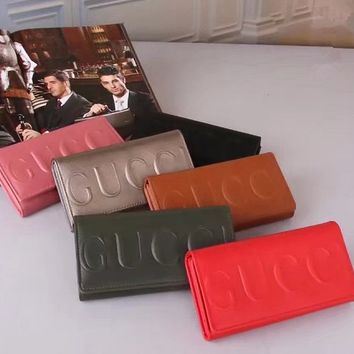 """Gucci"" Fashion Simple Letter Embossed Long Section Purse Women Solid Color Button Three Fold Wallet"