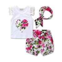 Toddler Girl Clothing Set Lace Sleeveless T-shirt Tops Floral Bottom Shorts Cute Baby Girl Summer Clothes Outfi