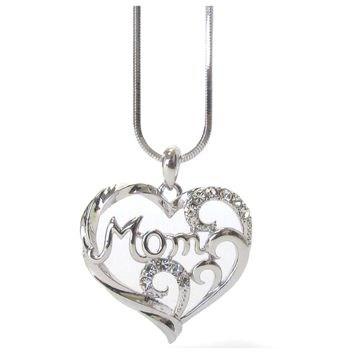 Stunning CZ Accented Heart MOM Charm White Gold Necklace