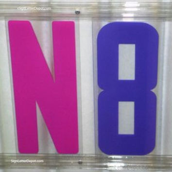 "8"" on 8 7/8"" Red White Yellow Blue and Pink/Purple Readerboard Marquee Sign Letter Set"