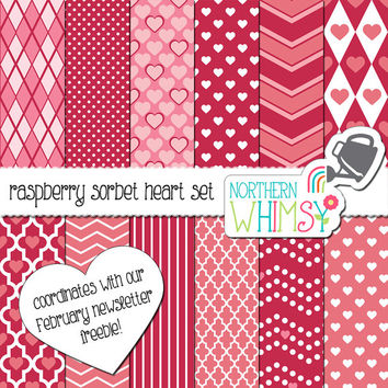 Raspberry Red Heart Digital Paper Pack –  Valentine's themed scrapbook papers for invitations, card making, etc – instant download – CU OK