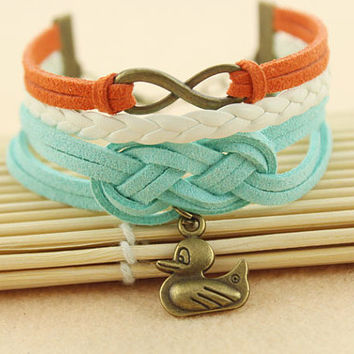 personality infinity knot bracelet--duck bracelet,antique bronze charm bracelet,white braid leather bracelet,friendship gift,MORE COLORS