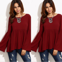 Burgundy Loose Trumpet Sleeve Blouse  B0013942